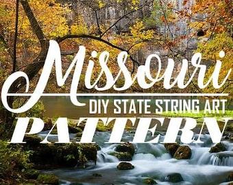 "Missouri - DIY State String Art Pattern - 11"" x 8.5"" - Hearts & Stars included"