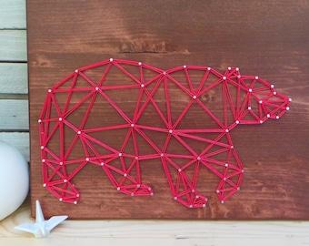 Geometric Bear Design - Modern String Art Tablet