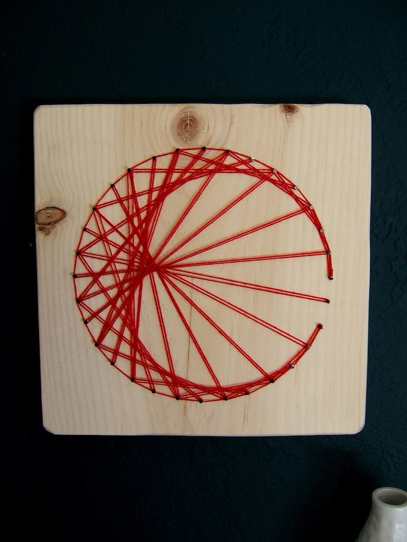 Modern String Art Wooden Tablet  Cardioid in Red on Natural image 0