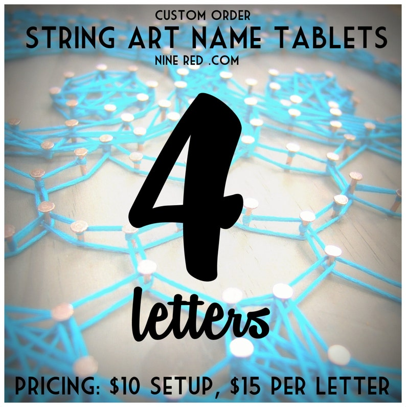 Modern String Art Wooden Tablet  4 letters image 0