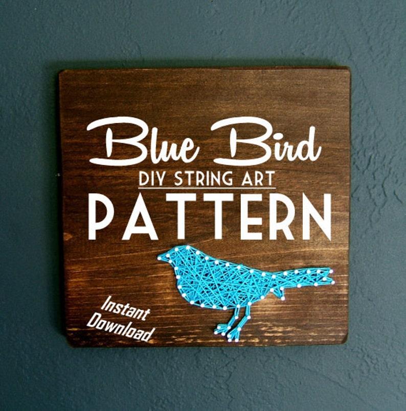 String Art Pattern  Set of 2  Blue Bird Silhouette image 0