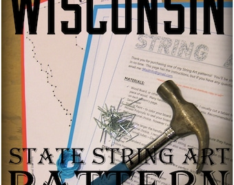 """WISCONSIN - DIY State String Art Pattern - 8.5"""" x 9.5"""" - Hearts & Stars included"""