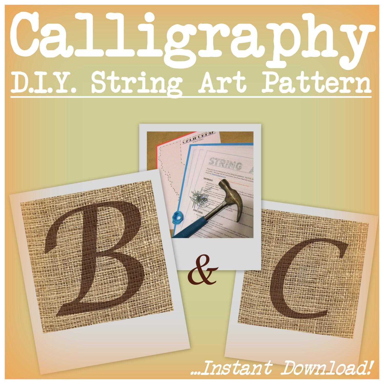 DIY Monogram String Art Pattern Calligraphy B and C | Etsy