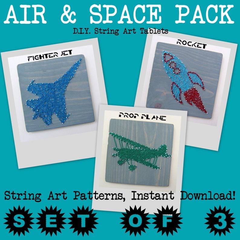 DIY String Art Pattern  Set of 3  Rocketship Fighter Jet & image 0