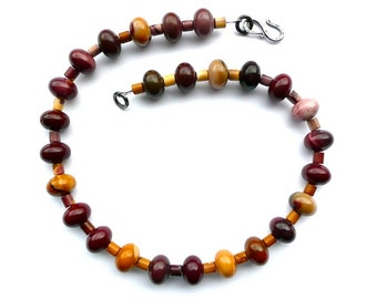 Mookaite -- Brown, Mauve, Yellow, Rust Mookaite Rondelle Necklace