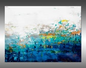 Blue Lake 7 - PAINTING PRINT - Stretched Canvas, Gallery Quality Giclee Print of Gorgeous Original Painting by Hilary Winfield