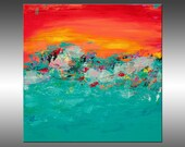 Tropical Paradise 2 - PAINTING PRINT - Stretched Canvas, Gallery Quality Giclee Print of Gorgeous Original Painting by Hilary Winfield