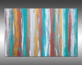 Turquoise & Metal - PAINTING PRINT - Stretched Canvas, Gallery Quality Giclee Print of Gorgeous Original Painting by Hilary Winfield