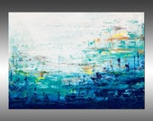 Blue Lake 8 - PAINTING PRINT - Stretched Canvas, Gallery Quality Giclee Print of Gorgeous Original Painting by Hilary Winfield