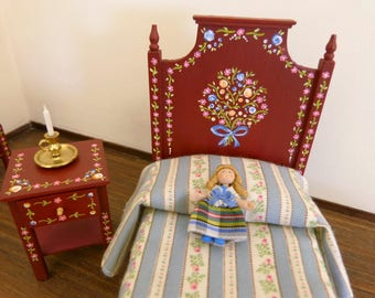Dollhouse miniature  single bed 12th scale Portuguese typical  hand painted furniture from Alentejo, burgundy background and tiny flowers