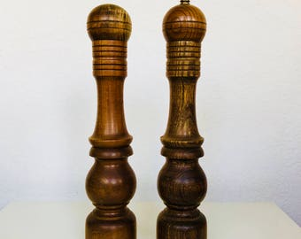 Extra Tall Wooden Salt and Pepper Shakers