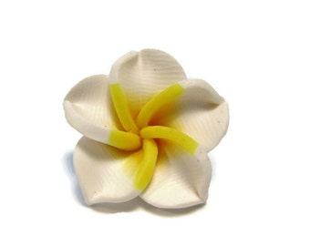 20 mm Polymer Clay Plumeria Flower Beads set of 4 (P19)