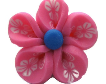 Pink Polymer Clay Flowers 20mm Beads Set of 4