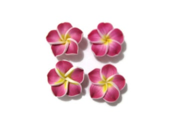 20 mm Polymer Clay Plumeria Flower Beads set of 4 (P41)