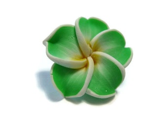 20 mm Polymer Clay Plumeria Flower Beads set of 4 (P35)