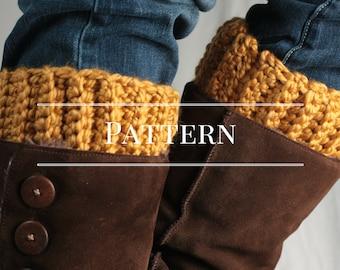 Crochet Pattern, easy boot cuff pattern,