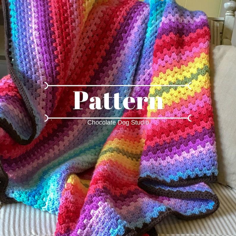 An Easy Granny Stripe Crochet Afghan Pattern Ombre Granny Etsy
