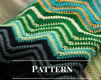 Chevron afghan pattern, Modern ripple blanket pattern