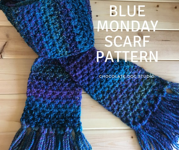 Crochet Scarf Pattern Blue Monday Winter Scarf Blue Ombre Etsy