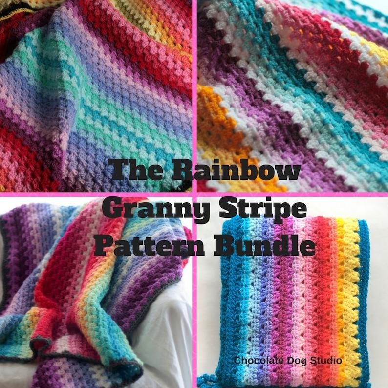 11cdeb55e8ed8 Rainbow Granny Stripe Pattern set, Crochet blanket and Scarf patterns,  crochet baby blanket pattern