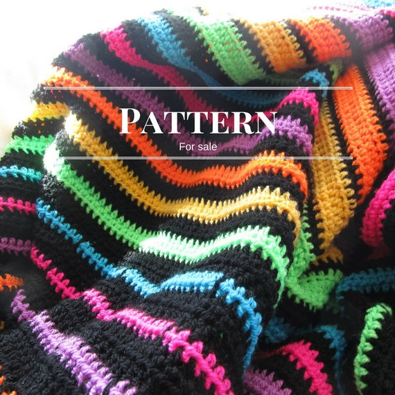 Striped Crochet Blanket Pattern Easy Crochet Afghan Pattern Etsy