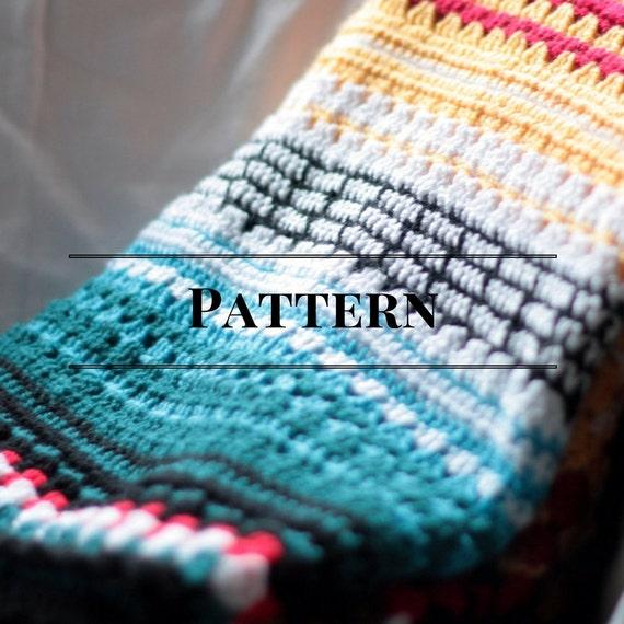 The Serape Stripe Crochet Blanket Pattern A Multicolor Etsy