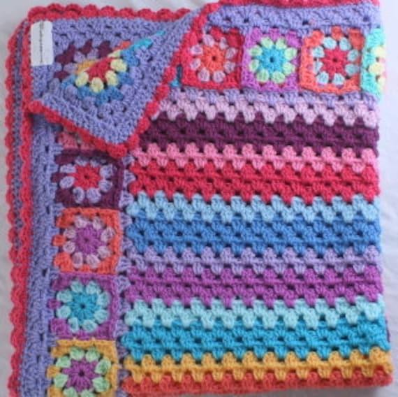 Crochet Pattern Granny Stripe Baby Blanket Pattern Etsy