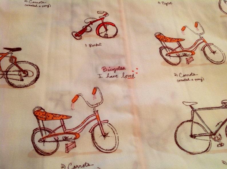 Heather Ross Vintage Fabric Pink Bicycle Munki Munki 10x17