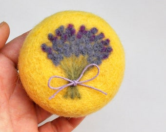 Pin cushion yellow with lavender gift pincushion needle felted wool gift for sewers quilters hostess home decoration
