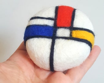 Art Pin cushion Mondrian Bauhaus design style red blue yellow white black gift pincushion needle felted wool gift for sewers quilters