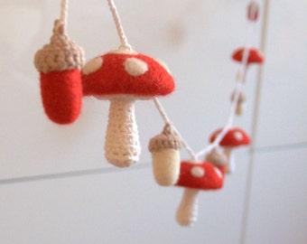 Mushroom acorn ornaments garland felt wool toadstool Alice in wonderland red white woodland nursery baby shower gift cottagecore decor