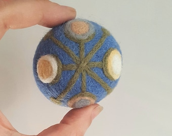 Pin cushion darker moonstone blue with modern flowers gift pincushion needle felted wool gift for sewers quilters hostess home decoration