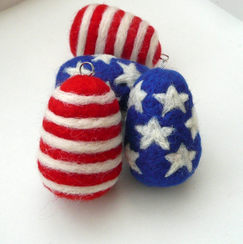 Patriotic decoration 2 felted wool eggs American flag party decor blue white red ornaments decoration