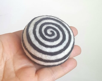Art Pin cushion candy white black gift pincushion spiral swirl style needle felted wool gift for sewers quilters hostess home decor Mondrian
