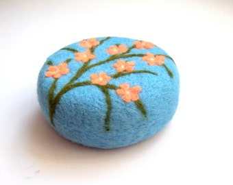 Pin cushion gift Cherry blossom pincushion needle felted wool gift for sewers quilters hostess home decoration