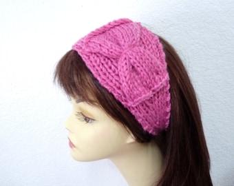 Hand knit turban Pink headband, Bow headwrap Chunky Rib Turban, Warm Womens Turband
