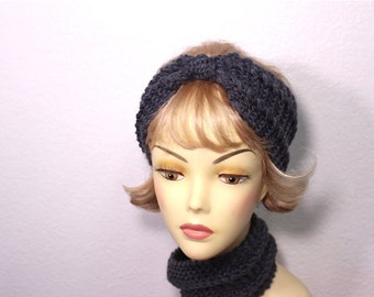 Knitted Headband Turband Ear Warmer, Women's Fashion, Hair Accessories, Bohemian Hair Band Grey