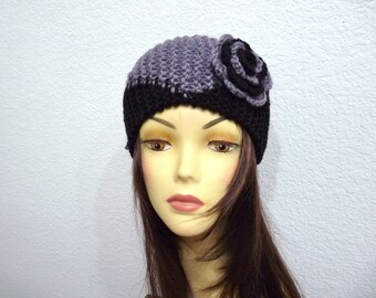 Grey with Back Knit Headband Geometry with Crochet Flower Ear warmer Hair Band Winter accessories
