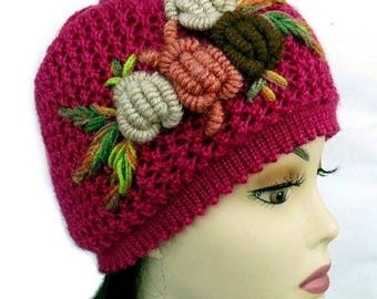 Hand Knit Hat and Scarf Set with Crochet Flower Chunky Berry Christmas Gift