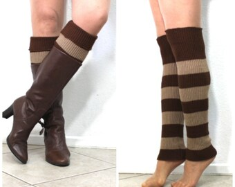 Leg Warmers Slouchy Knit Stripe Knee Legwear or Arm Warmer Women's accessory Winter Fashion