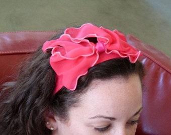 Pink Chiffon Bow Headband Wedding Pink flower Bridal headband Summer Hairband