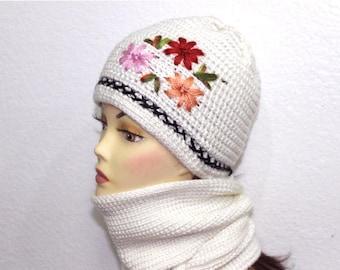 Hand Knit Hat and Scarf Set White Flower Crochet Women Accessories Winter Fashion
