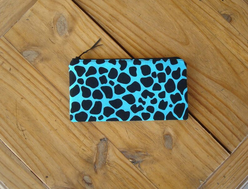 Giraffe Print on Turquoise Zippered Coin Purse Checkbook Sized