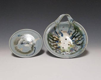 Handmade ceramic berry colander and drip saucer #1018