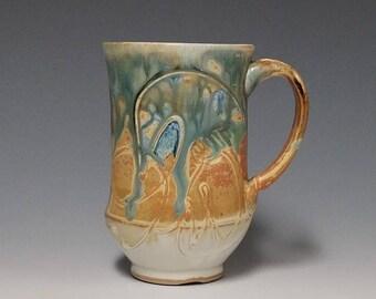 Handmade wheel thrown ceramic mug #1143