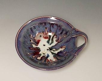 Handmade ceramic berry colander and drip saucer #1016