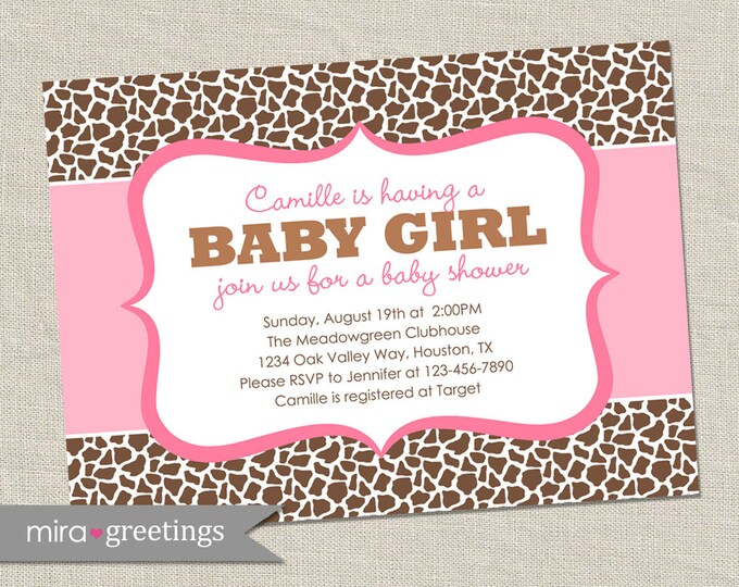 Giraffe Baby Shower Invitation - Printable Digital File