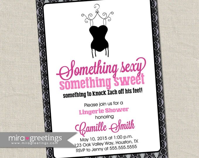 Lace Lingerie Shower Invitation - Black lacey lingerie bridal invite (Printable Digital File - see store policies for printed prices)