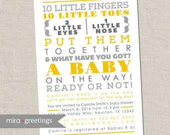 10 Little Fingers Gray and Yellow Baby Shower Invitation - Printable Digital File