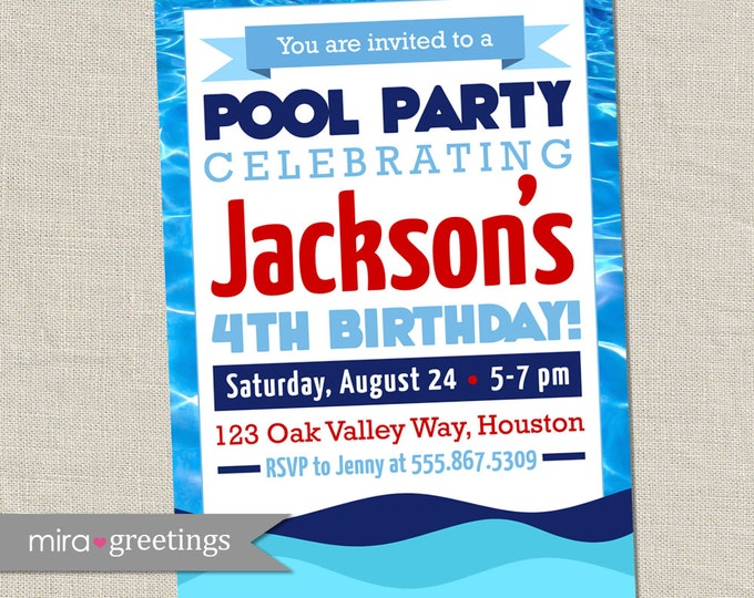 Pool Party Invitation -  Swimming Birthday Party Invite - Nautical Sailor Style (Printable Digital File)